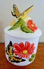 Vintage Butterfly & Flowers Trinket Jar with lid Made in Japan