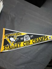 Vintage 1991 Pittsburgh Penguins Stanley Cup Champions Pennant Rare Used