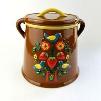 Vintage Redware Kitchen Canister Biscuit Jar Cookie Container Counter Top Decor