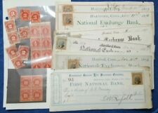 US LOT OF 23 OLD USED REVENUE STAMPS & EARLY CANCELED CHECKS