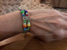Brand new Tibetan silver bangle with multi coloured beads and gift box