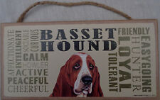 BASSET HOUND Subway Style  5 X10 hanging Wood Sign made in the USA