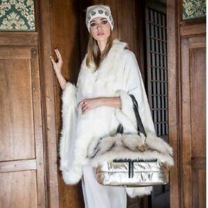 Alex Max 1642 Modern Fine Faux Fur Handbag - Gold - Florence, Italian