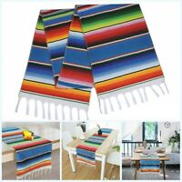 Mexican Serape Table Runner Festival Party Decor Fringe Cotton Home Tablecloth