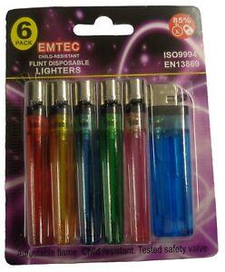 12 X Disposable Child Safe Cigarette Lighters Assorted Colour
