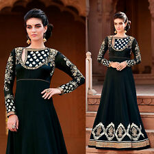 NIGHT GREEN GRGT DESIGNER ANARKALI SALWAR KAMEEZ SUIT DRESS MATERIAL LADIES DEN
