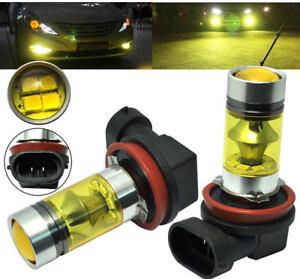 Pair 4300K Yellow H11 H8 Fog Light 2323 LED 100W Driving Projector DRL Bulbs