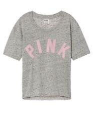 PINK Victoria Secret Large Crop Tee Shirt Logo Gray