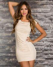 *♥*Sexy Strickminikleid Pullover Kleid Weihnachtskleid Gr 36/38 Creme