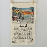 Vintage Calendar Tea Towel country winter farm sunset 1978 Currier and Ives
