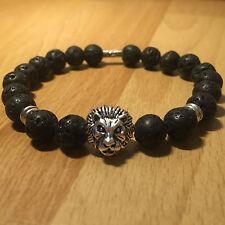 Lavastein Armband Löwe Bracelet Silber Surfer Buddha 100% Handmade Lion Fashion