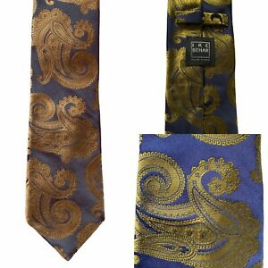 "Ike Behar Navy Gold Paisley 3.5"" wide 100% silk tie"