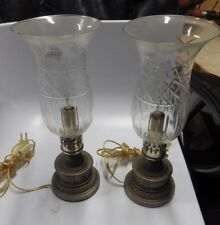 pair of antique art deco POT candelabra METAL TABLE LAMPS WITH GLOBES PICS