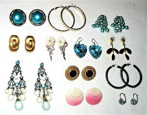 Mixed Lot - 12 x Lovely Vintage Pierced Fashion Earrings Drop Dangle Button Hoop