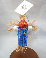 Christopher Radko Pumpkin Patch Scarecrow with Hay Blown Glass Holiday Ornament