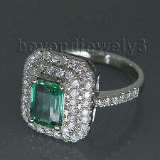 18K Solid White Gold Engagement Wedding Natural Colombia Emerald Diamond Ring