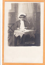 Studio Real Photo Postcard - Woman w/ Great Hat Reading Book - Candlestick Phone