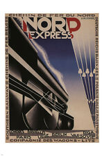 north EXPRESS RAILWAY TRAIN POSTER A.M. CASSANDRE france 1927 24X36 hot rare