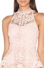 Lumier By Bariano Nude Lost In Time Sheer Neck Lace Top Sz XS/8 BNWT RRP$109.95