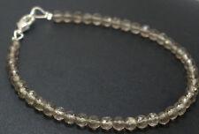 "3-4 mm Natural Smoky Quartz Gemstone Rondelle Faceted Beaded Jewelry 7"" Bracelet"