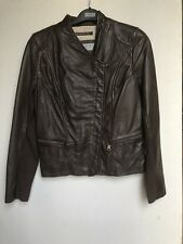 Andrew Marc New York Brown Leather Jacket Size S UK 8