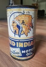 Red Indian Gas Oil Sign Aviation Tin Can Advertisement