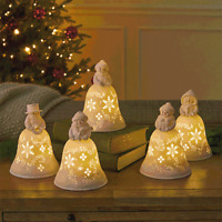 Hallmark Snowmen Bell Choir Musical Decorations With Light Set of 5 New with Box