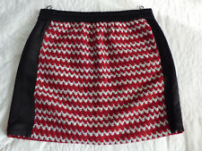 Jupe à design texturé en laine et coton mélangés noir, rouge et blanc KENZO