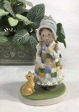 Holly Hobbie figurine, Blue Girl, Designers Collections, Girl with Cat, Vintage