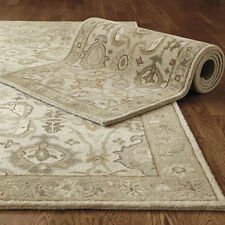 Old Hand Made Beige Traditional Parsian Oriental Ohswak Style Wool Area Rug