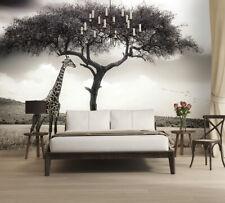 Fototapete Wandtapete + Gratis Selbstklebend 366x254cm Giraffe Safari Grau Farbe
