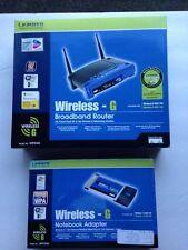 Linksys 1-Port 10/100 Wireless G Router (WRT54G) plus Linksys Notebook Adapter