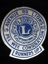LIONS CLUB AVENUE RD TORONTO 1963 PEE WEE TOURNAMENT RUNNERS UP PATCH LARGE
