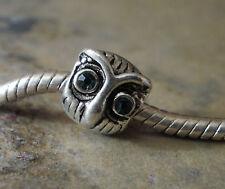 Bead Element Eule Uhu Strass Augen Farbe Antiksilber Silber für Armband 1136