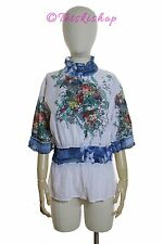 NWT $165 ALBERTO MAKALI Smocked Floral Snap Button Top Blouse Blue/White Size XL