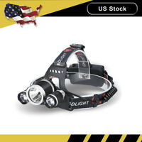 20000Lm Zoom T6 3 LED Headlamp Hunting Head Light Flashlight Torch 18650 Charger