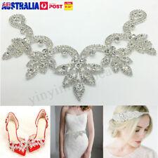 Crystal Rhinestone Applique Trims Iron on Bridal Dress Belt Head Piece V  Shape 9c2b2bb13b3f