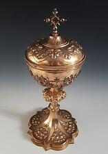 CIBOIRE XIXe ARGENT VERMEIL 1kg008 // 38cm ciborium silver calice or. Gothique
