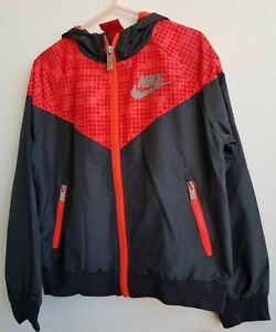 Nike Little Boys Dri-Fit Hooded Track Jacket  Size 7 Black Orange Red