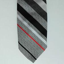 Grey striped tie Lloyd Menswear Vintage 1970s Washable Mens drip dry polyester