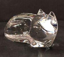 Vintage Val St Lambert Crystal Reclining Cat Figurine Signed De Souza Belgium