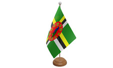 Dominica Small Table Flag with Wooden Stand