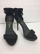 Jessica Simpson Sandals Sz 7.5B Bowie Black Heels Ankle Strap Back Bow Party