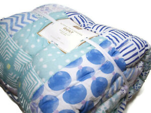 Pottery Barn Teen Multi Colors Aloha Patchwork Floral Dot Stripe Twin Quilt New