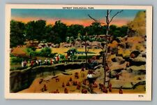 Detroit Michigan MI Zoological Park Monkees Linen Postcard 1930-45