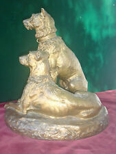 ORIGINAL PERIOD FRENCH PATINATED BRONZE STATUE FIGURINE 2 DOGS S.LENARD, C.1880