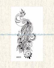 US SELLER, peacock black temporary tattoo sticker body tattoo temporary