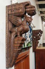 Wall Wooden Bracket Temple Corbel Pair Peacock Parrot Bird bracket Home Decor