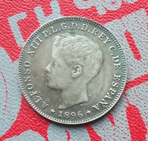 40 Centavos 1896 Puerto Rico Alfonso XIII Silver Coin