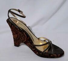 Enzo Angiolini SZ 6.5M Brown Black Tapestry 4IN Platform Heel Sandals Bienvenuto